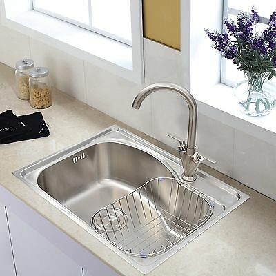 1.0 Bowl Stainless Steel Kitchen Sink and Taps Brushed For Kitchen Washing New