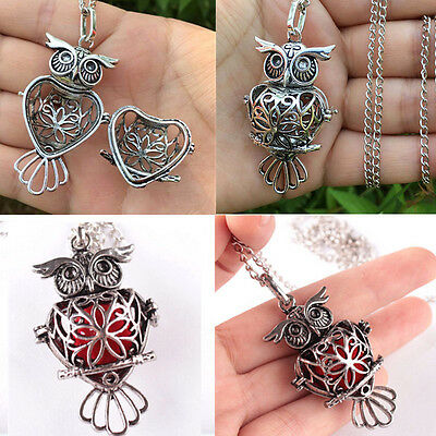 Perfume OWL Locket Necklace Fragrance Essential Oil Aromatherapy Diffuser CHI