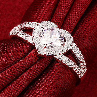 Women Love Heart Cut Zircon Silver Plated Engagement Wedding Ring Party SZ6-9