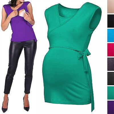 Happy Mama. Women's Maternity Nursing 2in1 Bolero Top Shirt Sleeveless. 094p