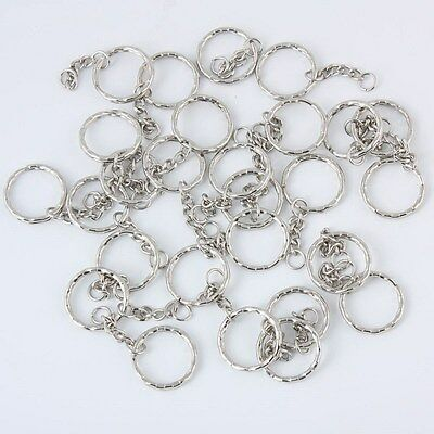 100pcs Keyring Blanks Silver Tone Key Chains Findings Split Rings 4 Link