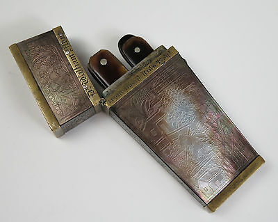 Chinese MOP Surgeon's etui with 4 bloodletting lancets dated 1837 Calcutta