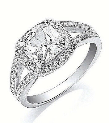 Rhodium Plated 925 Hallmarked Sterling Silver Cushion Cut Halo Ring