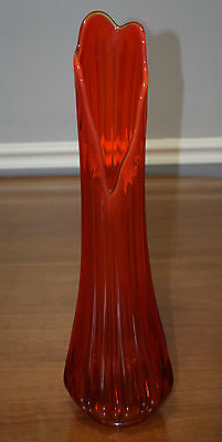 """Retro Amberina LE Smith Glass 21"""" Architectural Style Swung Pulled Floor Vase"""