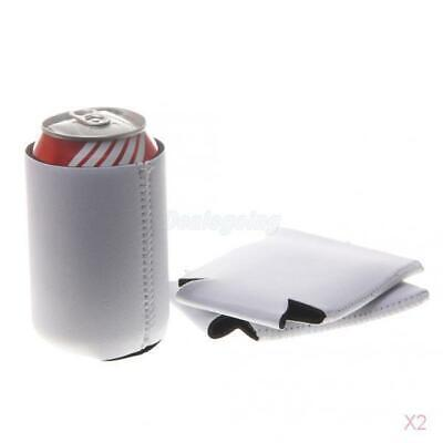 2x 10pcs Stubby Beer Bottle Koozie Tin Can Cooler Wedding Favour Blank White