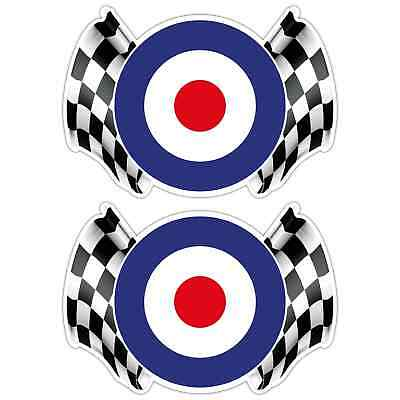 MOD CHEQUERED FLAG LAMINATED STICKERS x2 130x90mm Scooter RAF The Who Vespa