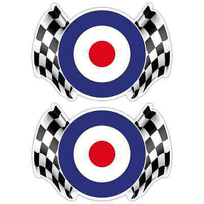MOD CHEQUERED FLAG LAMINATED STICKERS x2 155x108mm Scooter RAF The Who Vespa