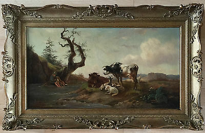 19th century French school oil painting on canvas signed gilt frame