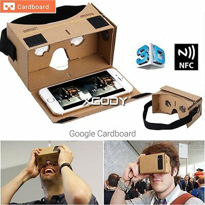 Google Cardboard V2.0 VR Headset Kit NFC, Lens & Headstrap Virtual Reality Black