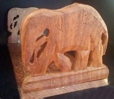 Carved Wooden Elephant Book Support 13 Inches Long
