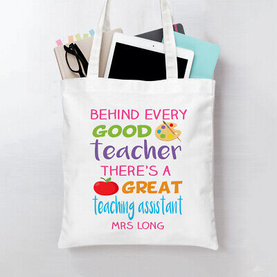 Personalised great teaching assistant tote bag Ideal school gift! quote