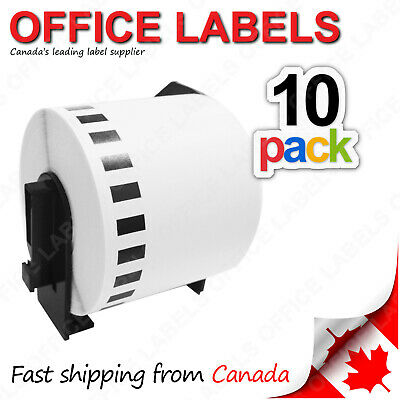 "10 Rolls of DK-2205 Compatible Labels for BROTHER® QL Printer 2-3/7"" x 100'"