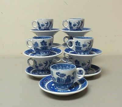 Vintage Set/11 Shenango China Blue Willow Demitasse Cups & Saucers (1930-48)