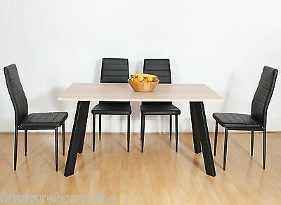 CHESTER Oak Wooden Wood Dining Table Set and 4 6 Black Faux Leather Chairs Seats