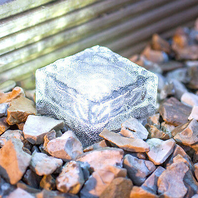 Solar Powered LED Rock Light Waterproof Path Garden Ice Cube Brick Lamp 4 LED