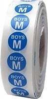 M Blue Youth Boys Apparel Size Stickers 3/4 x 4