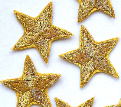 "Gold star patches > pack of 3 > embroidered > iron-on > 1"" (25mm) hand finished"