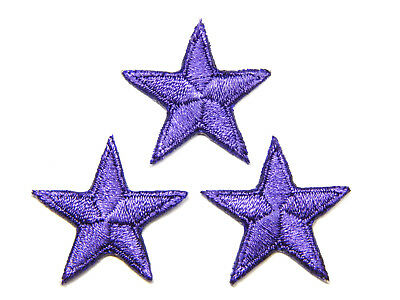 """Purple star patches > pack of 3 >embroidered> iron-on > 1"""" (25mm) hand finished"""