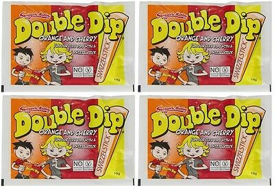 Double Dip x 18 Orange Cherry 19g Bulk Lot Candy Dips Swizzle Stick Fundraising