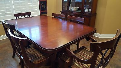 Drexel / Tell City Antique Mahogany Dining Table and Chairs Duncan Phyfe