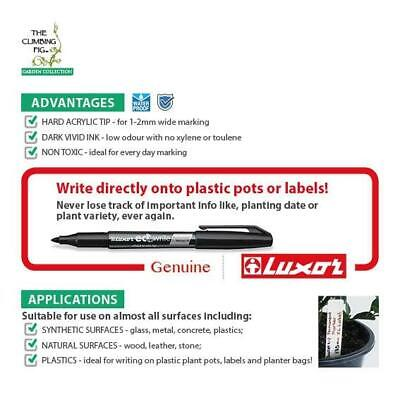 Permanent Black Marker | Write on plastic pots & labels | Luxor Eco Write 1-2mm