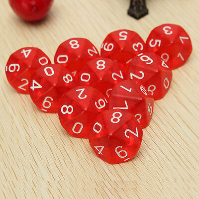 10pcs Red 10-Sided Dice D10 RPG D&D Game Role Playing Game Dungeons& Dragons