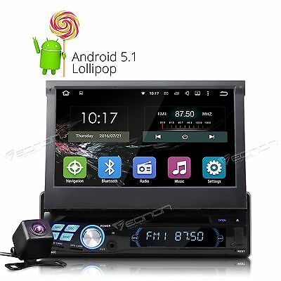 "Backup Camera+ Single 1 Din Android 7"" Car Stereo DVD CD Player GPS Navigation W"