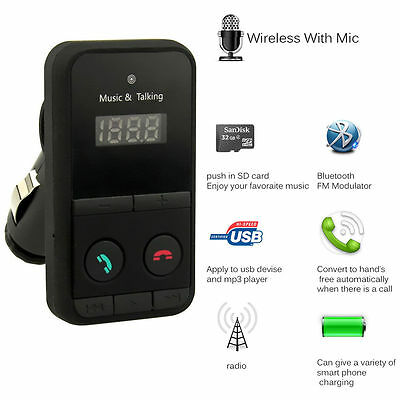 Wireless Bluetooth Handsfree Car Kit FM Transmitter USB Charger Audio MP3 Player