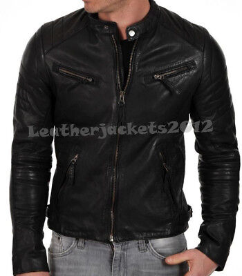 Mens Black Leather Jacket Genuine Leather OR Faux slim fit Biker Sty54
