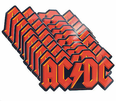 10 x AC/DC Classic Red Logo Official Vinyl Stickers Wholesale