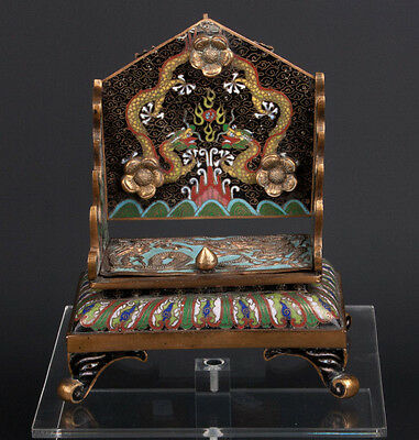 China 19. Jh. A Rare Chinese Cloisonné Inkstand / Brushrest Qing Cinese Chinoise