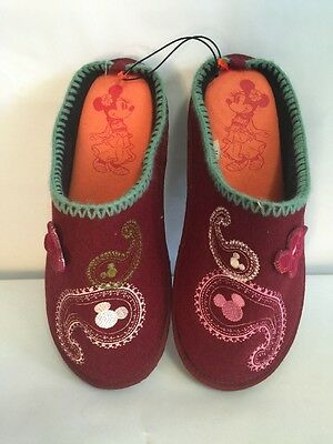 Disney Minnie Mouse Felt Embroidered Maroon Slippers Large Women's New