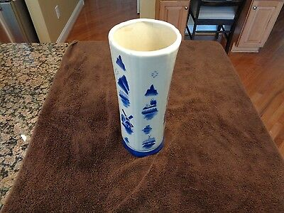 Vintage Blue and White Porcelain Asian Vase with Windmill and Nordic Figures