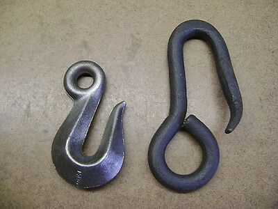 "Old Tools Pair of Iron Hooks 3/8"" Drop Forged 6"" Hand Forged Nice Rugged Hooks!"