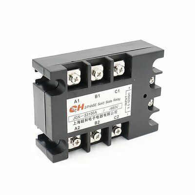 3 Phase Solid State Relay JGX-33100A 3.5-32 VDC Input 480VAC 100 Amp Output DC/A