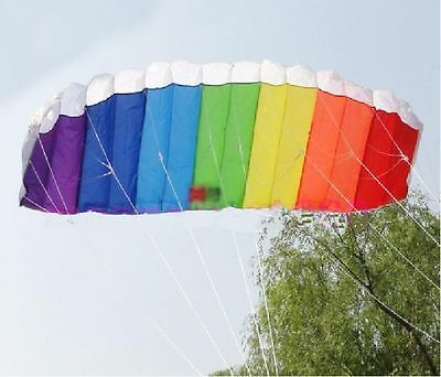 Multi Color Frameless Parafoil Stunt Kite Twin Dual Line Beach Sport Toy 120cm
