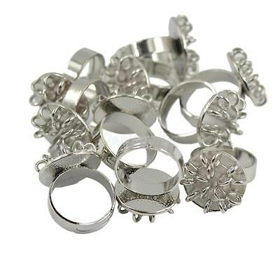 10pcs Adjustable Brass Ring Blank 15 loops DIY Jewelry Findings Craft Silver