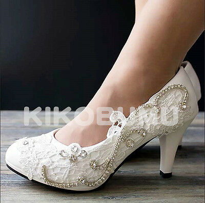 Wedding Lace Pump Event Party Bridal Bridesmaid Flat High Low Heels shoes 5-12