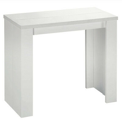 Table console extensible SIMPLY 3 rallonges Blanche