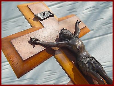 antique French wall cross, crucifix
