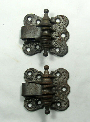 Pair of Antique Victorian Steeple Tip Spring Screen Door Hinges Pat. 1877