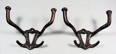 Pair of Decorative Mid-Century Cast Iron Double Hooks with Bronze Finish