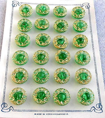 24 Czech Crystal Glass Buttons on Card #G265 - RARE!!!!!!!!!!!!!!!!