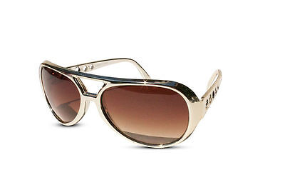 Classic ELVIS PRESLEY Sunglasses LAS VEGAS COSTUME GOLD USA Glasses