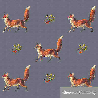 Designer Sewing Upholstery Curtain Vintage Fox UK Fabric Cotton Linen Metre