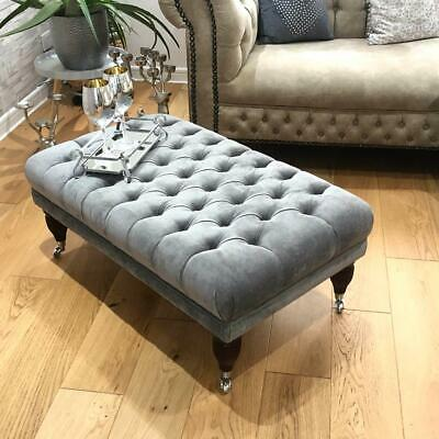 New 60CM X 100CM X 40CM TUFTED CHESTERFIELD DEEP BUTTONS FOOTSTOOL STOOL