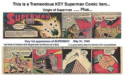 1st APPEARANCE OF SUPERBOY In HISTORY! May, 1942 - VF/NM - SUPERMAN SUNDAY PAGE