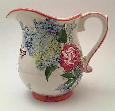 Harry & David Floral Cottage Chic Pitcher Ewer Roses Lilacs Butterflies