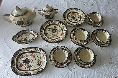 BEAUTIFUL ANTIQUE MASON'S DECORATED IRONSTONE TEA DESSERT SET 1800's *VERY RARE*