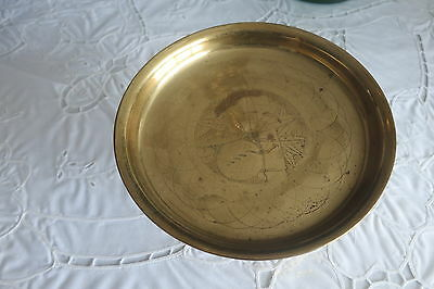 Antique/vintage Chinese footed brass bowl hand tooled marked